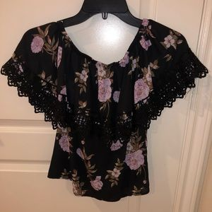Tops - Black Floral Top